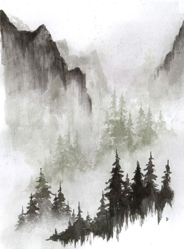 misty mountains drawing
