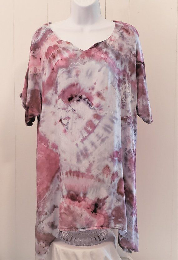 3bed033a9c3 Tie Dyed Tunic Medium Ice Dyed Tie Dye Tunic Women s Fashion Tie Dyed Tunic  Pink and White Tie Dyed Tunic Tie Dyed Beach Cover-up Tunic