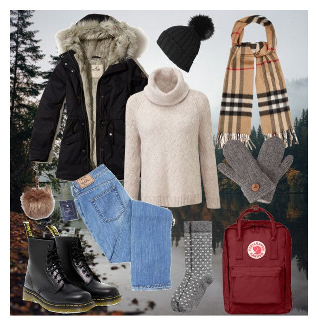 """Winter #1"" by siggan22 on Polyvore featuring Hollister Co., Dr. Martens, Burberry, Black, Laundromat and Fjällräven"
