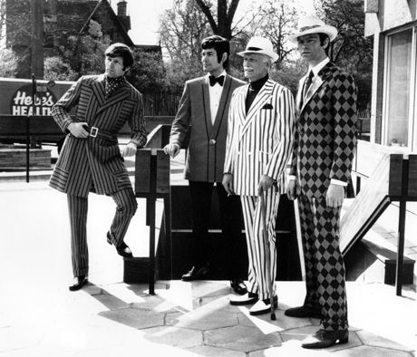 These gents model their mod-look of Crimplene fashion, 1970. (AP)