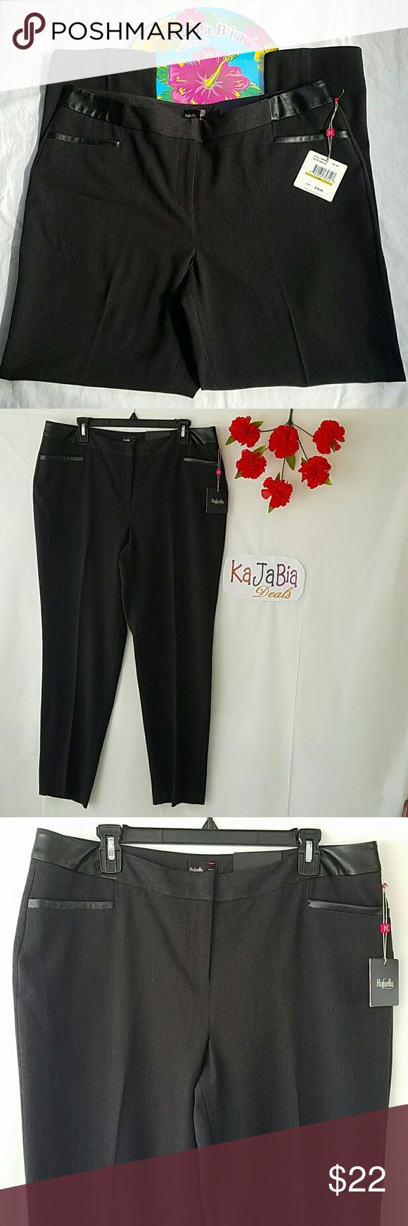 """Rafaella Curvy Straight Pants NWT. Never worn. Perfevr condition. No rips. No stains. 18"""" waist. 28"""" inseam. Color graphite. Faux leather detail at waist and back & front pockets. Very cool looking.  62% polyester, 33% rayon, 5% spandex. Size 14P. Rafaella Pants Straight Leg"""