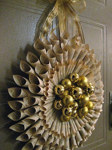Rolled Book Page Wreath Tutorial by all things paper, via Flickr