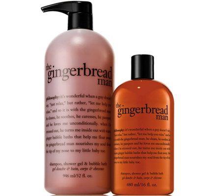philosophy gingerbread man home & away shower gel duo
