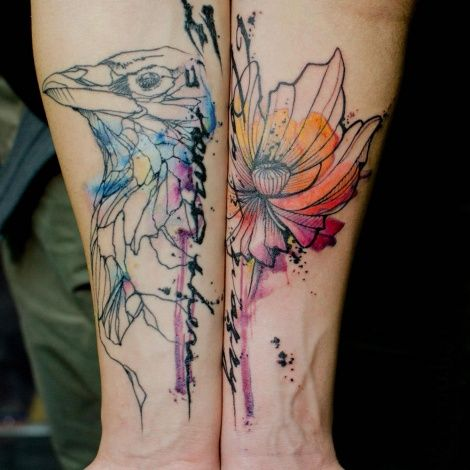"""Stencil and Watercolor"" Tattoos"