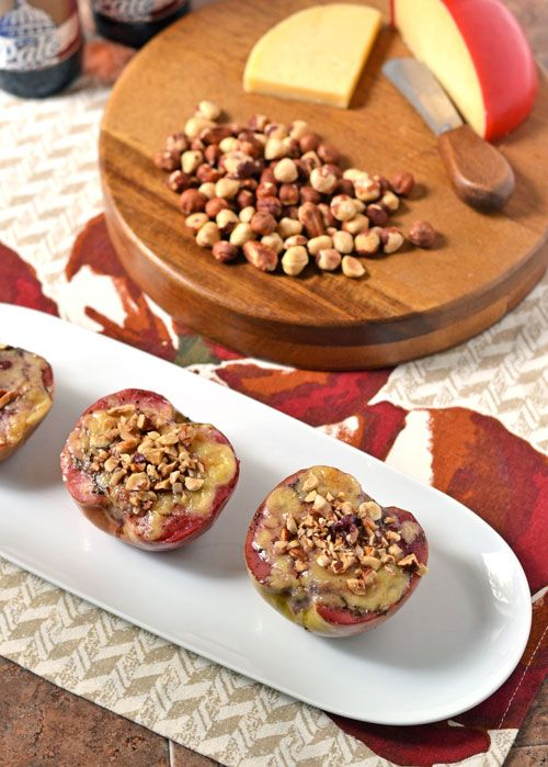 Edam Cheese Baked Apples with Hazelnuts: Sweet baked apples with gooey cheese inside and nuts on top. An easy elegant appetizer!