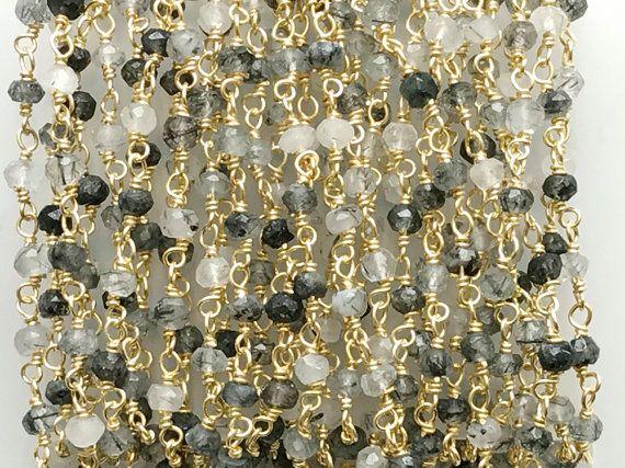 WHOLESALE 5 Feet Black Rutile Faceted Rondelle by gemsforjewels