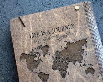 Travel Book Honeymoon Notebook Wooden Custom Wedding Wanderlust Gift for Newlyweds Traveler Writing Blank Journal Diary Sketchbook