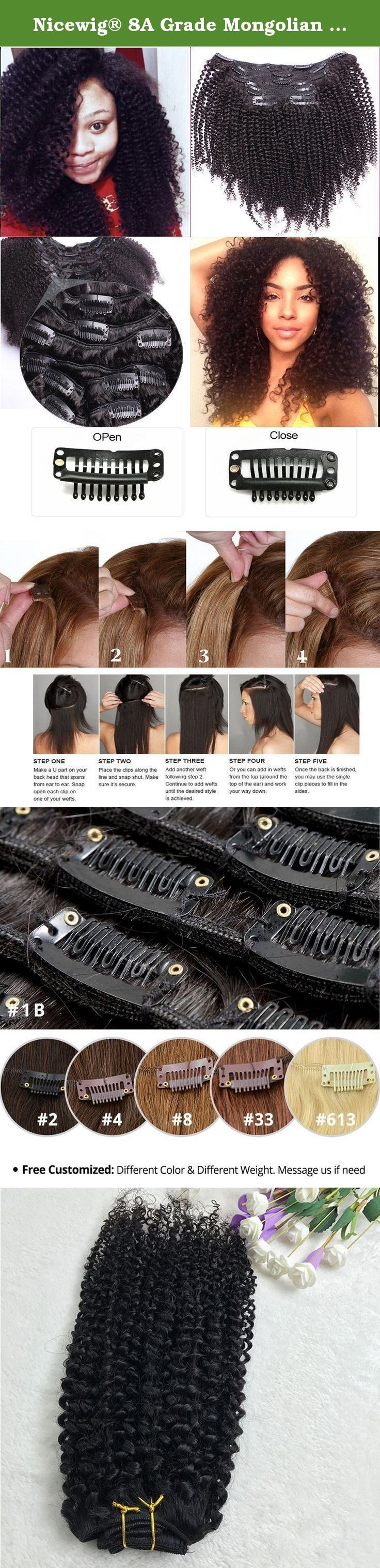 """Nicewig® 8A Grade Mongolian Afro Kinky Curly Clip In Hair Extension Vigin Human Hair weaving Kinky Curly Clip Ins 7pcs/lot,120gram/set Natural Black For American Black Women 10"""". Hair Specifics 1)Item Name: Clip in Human Hair Extensions; 2) Hair Color: Natural Black Color, #1B ;(a little dark brown ) 3)Hair Quality:Top Quality Grade 8A Virgin Human Hair,No tangle,No Shedding; 4)Hair Length: 10 Inch 5)Net Weight: 95-105 Grams for hair only.add 16pcs clips , total about 120 grams. (we are a..."""