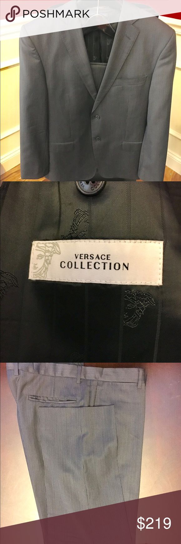 Versace Collection Men's Suit & Pants Versace Collection Men's Suit.  This suit was purchased at Saks Fifth Avenue. It was altered to 44R (Suit Jacket) and 36/30 (Pants). Great condition.  EURO size was 54. A must have Versace suit!! 🌹🌹 Versace Suits & Blazers Suits