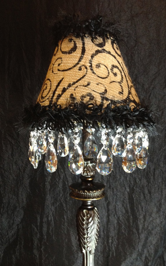 Hand-Painted Burlap Chandelier Lamp Shade with Crystals