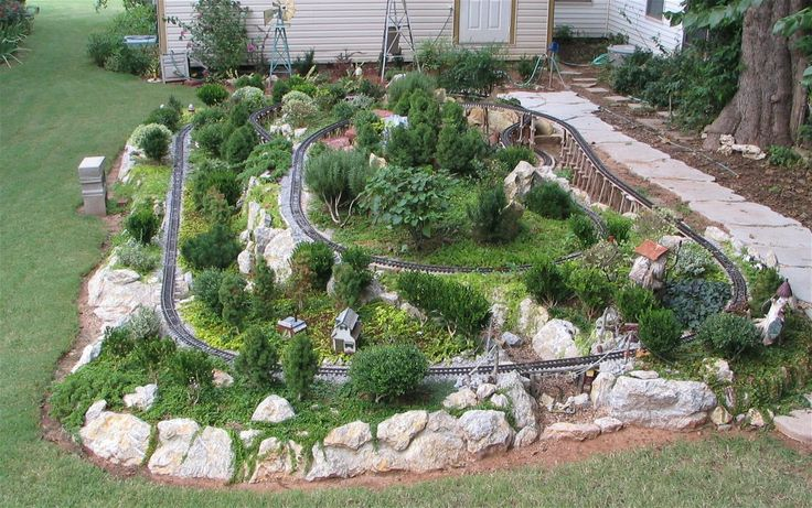 garden train layouts | The Sandflea and Redbud Garden Railway is located behind the Cottage ...