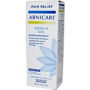 Arnica Gel, I keep this stocked at home, at all times! great for reducing bruises, repairing damaged muscle tissue, sore muscles.