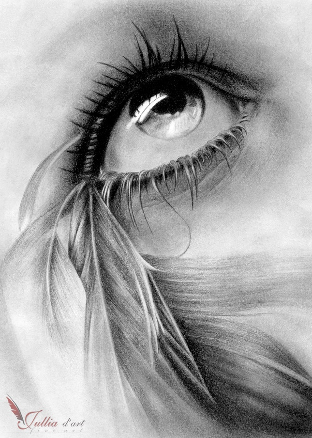 Картинка глаз со слезой простым карандашом является одной