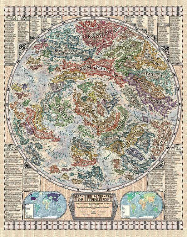 """La mappa dellaletteratura, il sogno di ogni amante dei libri. E' stata realizzata dall'artista slovacco diciasettenne Martin Vargic, specializzato nella creazione di mappe complesse tratte da dati moderni e cultura pop. Contenuta nel suo ultimo libro """"Vargic's Miscellany of Curious Maps: Mapping out the Modern World""""."""