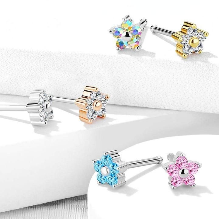 316 L Surgical Steel Nose Bone Stud Ring with CZ Flower Top