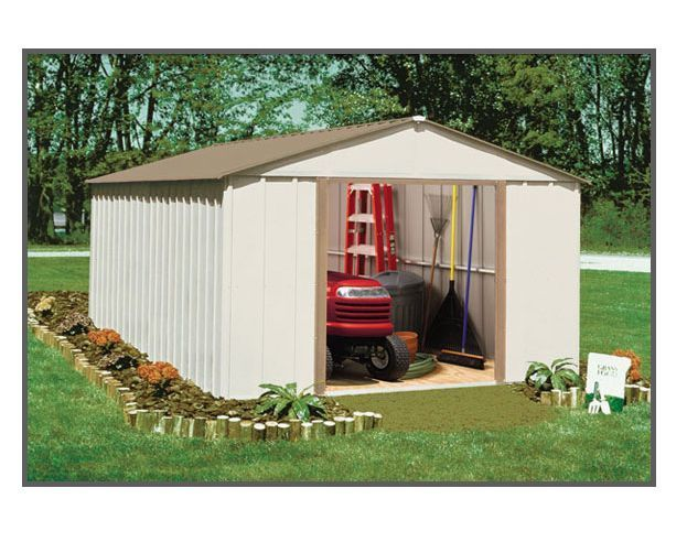 arrow sheds metal storage lg garden shed kit oakbrook 10 x 14ob1014 w - Garden Sheds 6x7