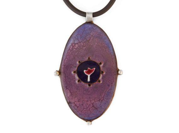 Purple Pendant, Enamel copper purple pendant, purple floral pendant, spring purple tulip colorful pendant, rubber cord violet pendant