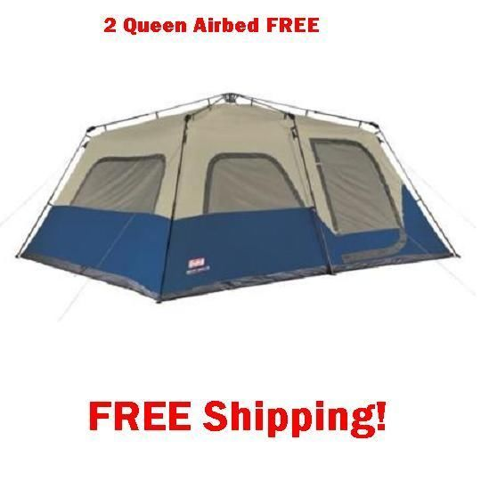 12 Person Tent & 2 FREE Queen Air Beds Camping Hiking Family Cabin Hunting