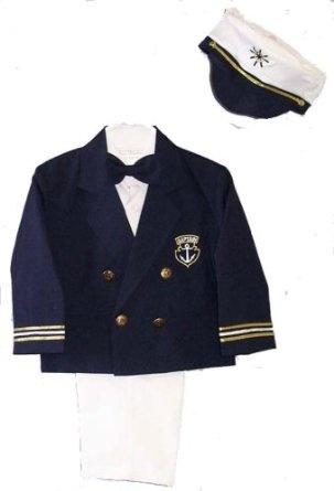 Amazon.com: Infant, Toddler and Boys 5-pc Dress Sailor Suit with Nautical Blue Blazer & Captain's Hat Sizes 9-24MO 2T-4T, 5-7: Clothing