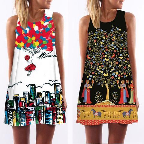 3D Vintage Print summer dress 2017 bohemian beach dress summer sundresses women dresses dashiki hippie boho vestidos plus size