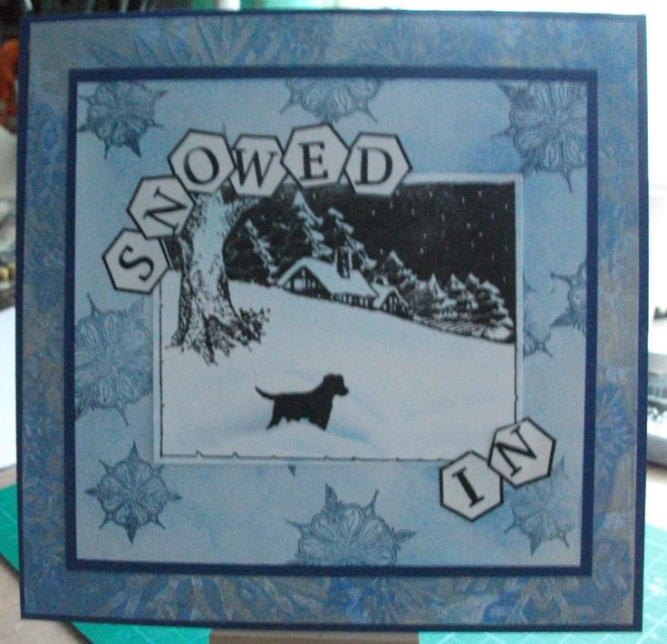 1st background gelliplate and snowflake stencil 2nd mat stamped with snowflakes. Main image Winter wonderland and Labrador stamps. Letterbox stampset with new shaped boxes