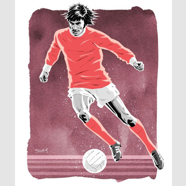 George Best (Man Utd) in characteristic dribbling action.  https://www.etsy.com/uk/listing/219569090/george-best-2-man-utd-action-portrait?ref=shop_home_active_8