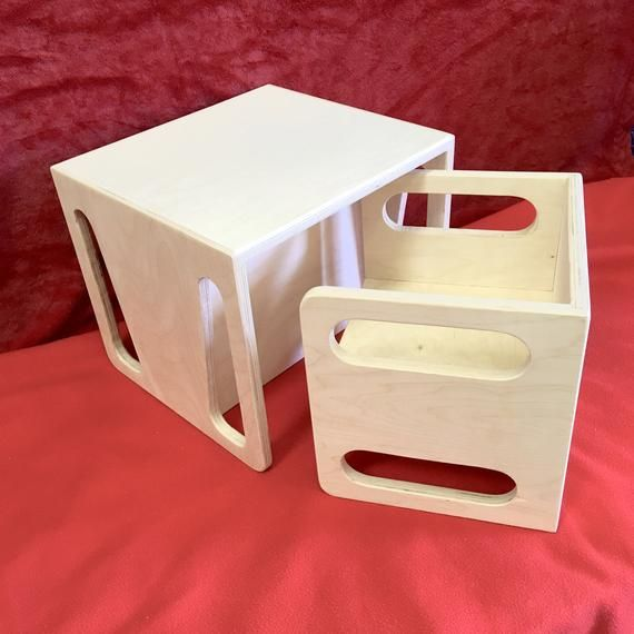 Montessori Cube Chair And Table Set 1 Cube Chair And 1 Large Etsy Cube Chair Montessori Furniture Cube Table