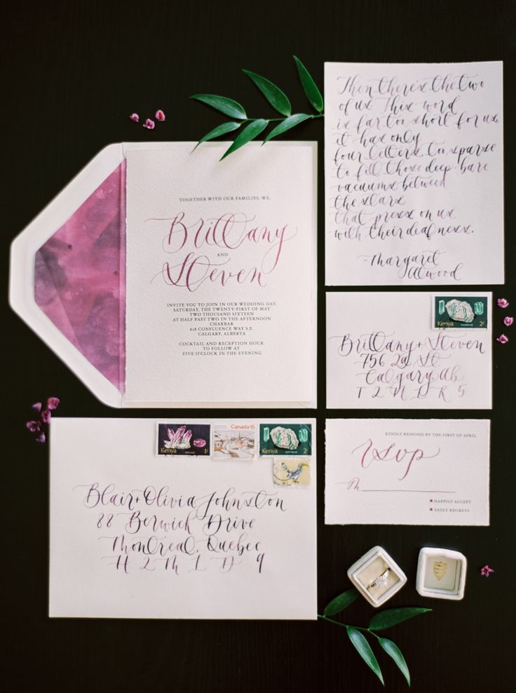 Industrial Chic Colorful Wedding Inspiration Calligraphy