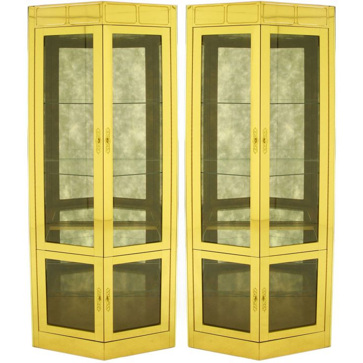 Pair Mastercraft Pentagonal Brass & Glass Vitrines.  USA  Circa Price  $8,750