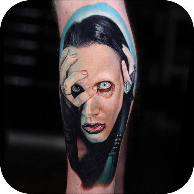 How smart is this Marilyn Manson tattoo x