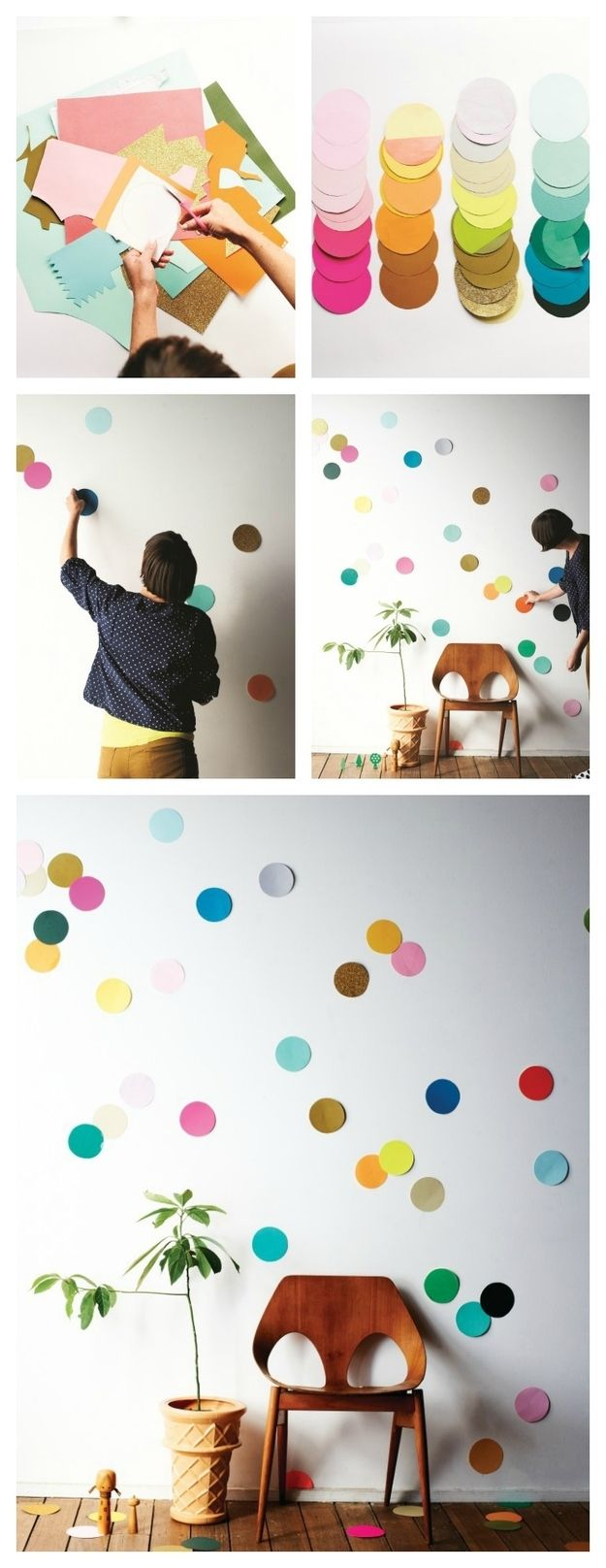 Cut circles from an array of colorful and textured papers and adhere them to the wall using Blu-Tack. You can use them as decorations for a special event or leave them up!