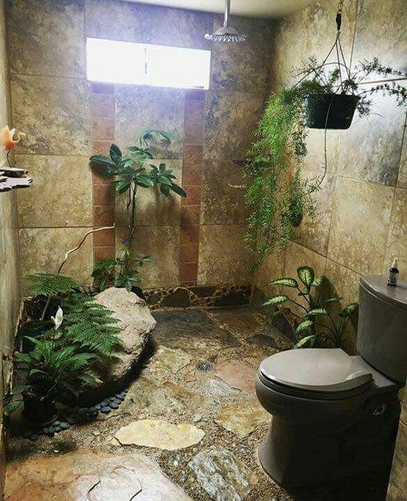 Bathroom shower plants greenery nature hippie natural wild