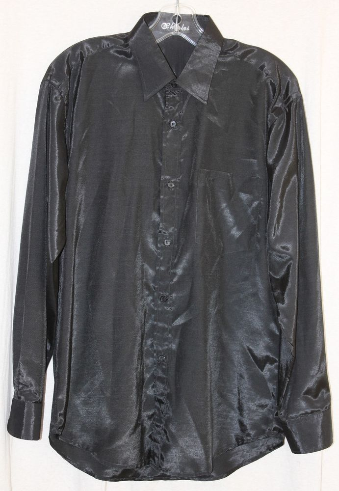 Vintage Mens Shiny Button Front Shirt Black Long Sleeve Charles M Slim Fit Sheen #Charles #Clubwear