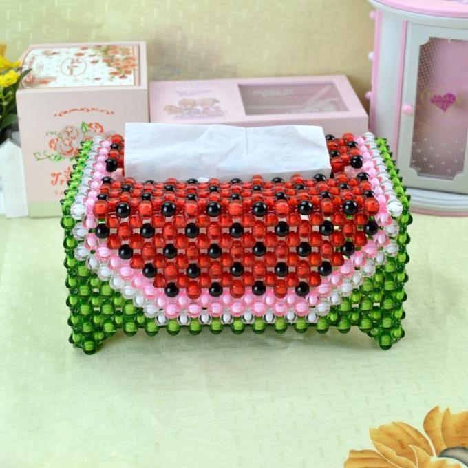 Diy-handmade-beads-watermelon-tissue-box-for-car-and-home