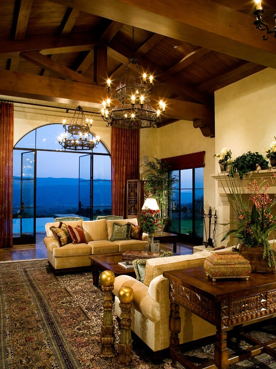 Mediterranean Living Room Chandelier Design