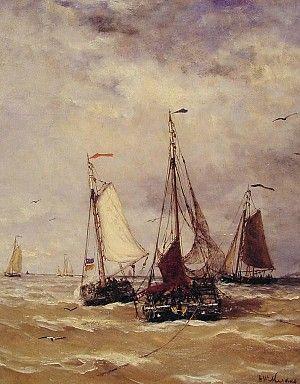 H.W. Mesdag: Voorbereiding voor vertrek, een bekend schilderij van schepen bij het Scheveningse strand (ca. 1876).