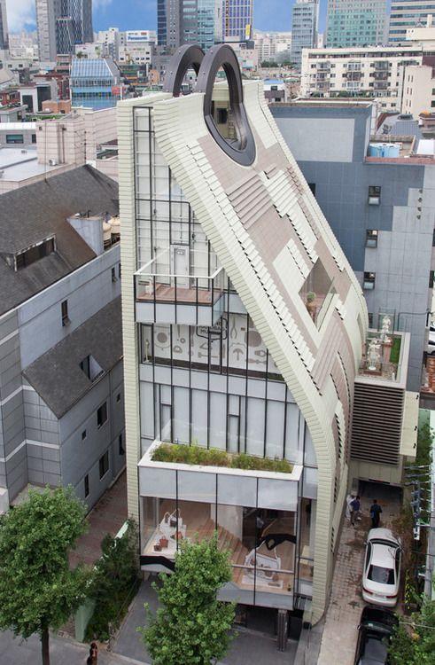 Unique Purse-Shaped Building – Simone Handbag Museum in Seoul, South Korea.   UAD Architects and Charlie Smith Design.  2012
