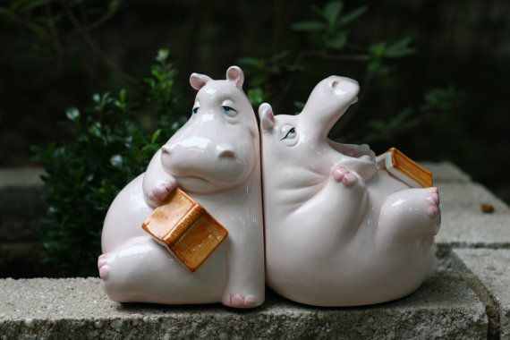 Vintage Fitz and Floyd Pink Hippo Bookends / by theretrobeehive, $30.00                                                                                                                                                      More
