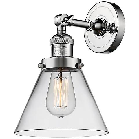 large cone 10 high polished chrome adjustable wall sconce rh pinterest com