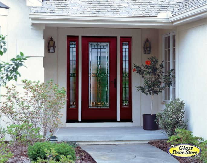 Sarasota glass door - with one sidelight in dark red Glass will allow more light into house.