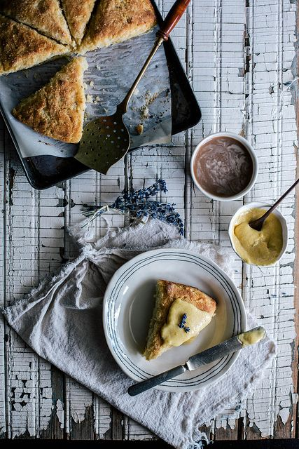 Buttermilk, Cornmeal, Brown Butter Scones with Lavender Peach Curd by Beth Kirby | {local milk}