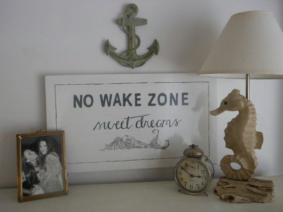 No Wake Zone. Sweet Dreams. Mermaid Hand Painted Sign. Black and White Nautical decor for Coastal Living by searchnrescue2 on Etsy, $58.00