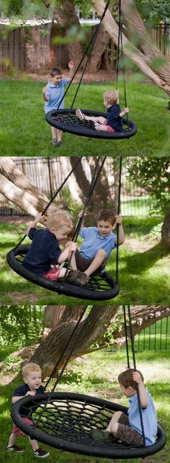 TheSwing-N-Slide Monster Web Swing can hold up to three children at once! The extra-large oval frame is made of sturdy steel wrapped in padding. Durable rope creates a spider-web like netting with comfortable support. This incredible swing is now on sale at hayneedle.com.