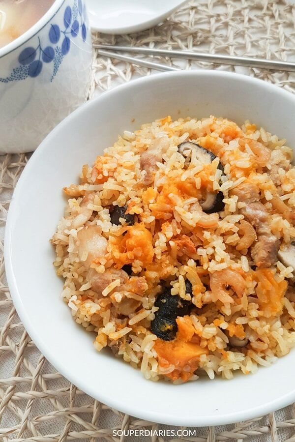 Pumpkin rice with mushrooms and pork.