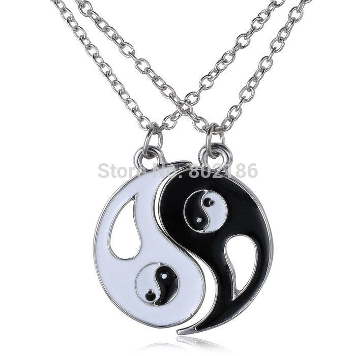 2P Yin Yang Pendant Necklace Black White Couple Sister Friend Friendship Jewelry Unique Personalized Gifts
