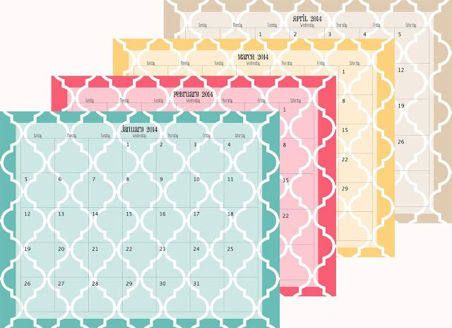 Doodles & Stitches - 2014 Calendar Printables