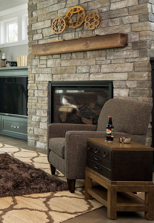 A Minnesota Casual Home   The Living Room. Rustic MantleStacked Stone  FireplacesStacked ... Part 48