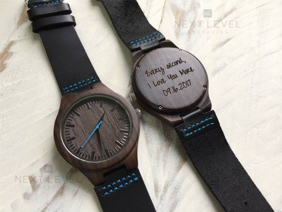 Boyfriend Personalized Gift, Engraved Mens Wooden Watch, Husband Gift, Unique Fathers Day Gifts for Men, Custom Gift for Him