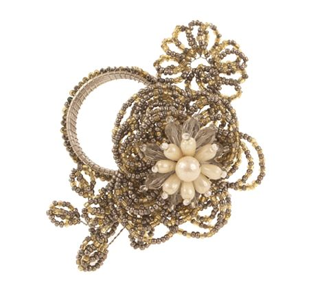 Bombay & Co, Inc.::Textiles::Table Textiles::Natural Beaded Napkin Ring