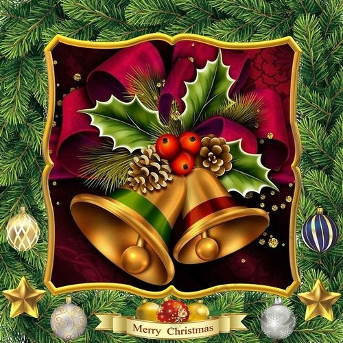 Chrsitmas Bells OTE by David Cooke This kit produces an over the edge card that will fit an 8 x 8 envelope unfolded for posting. The card front is fully decoupaged and all pieces are supplied.  There is a separate insert sheet that complements all the OTE Christmas series